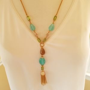 Vintage Necklace Turquoise and Gold